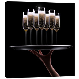 Canvas print  Tray of Champagne
