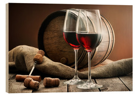 Wood print  Wine and barrel on a wooden table