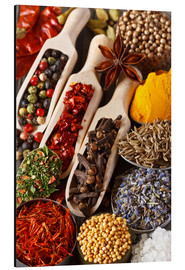 Aluminium print  Colorful aromatic spices and herbs