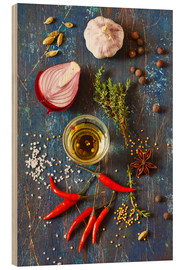 Wood print  Spices and Herbs