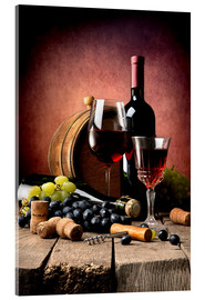 Acrylic print  Red wine with grapes and corks