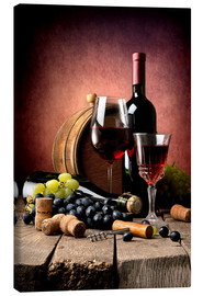 Canvas print  Red wine with grapes and corks