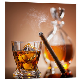 Foam board print  Cigar on glass of whiskey with ice cubes