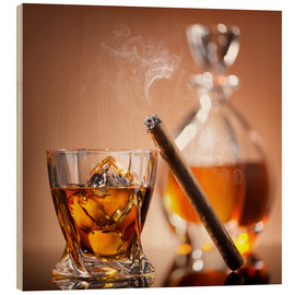 Wood print  Cigar on glass of whiskey with ice cubes