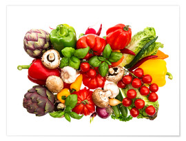 Premium poster  fresh vegetables and herbs on white