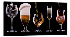 Acrylic print  alcohol drinks on black