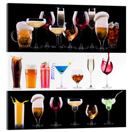 Acrylic print  drinks - beer, wine, cocktail, juice, champagne, scotch, soda