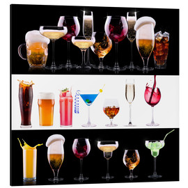 Aluminium print  drinks - beer, wine, cocktail, juice, champagne, scotch, soda