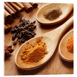 Acrylic print  Herbs and spices on wood