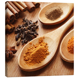 Canvas print  Herbs and spices on wood