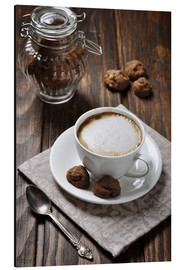 Aluminium print  Cup of Coffee with Cookies