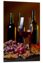 Acrylic print  red wine with grapes and vine leaves