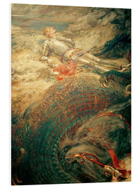 Foam board print  Saint George and the Dragon - Briton Riviere