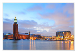 Premium poster  Stockholm City Hall at dusk
