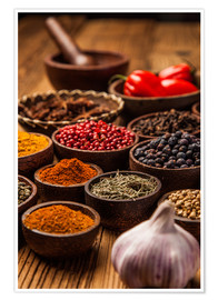 Premium poster  Colorful spices in bowls