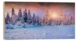 Wood print  Winter Sunrise in the Mountain Forest
