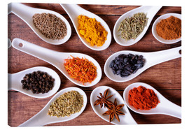 Canvas print  Spices in ceramic bowls