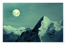 Premium poster Full Moon on the Eiger