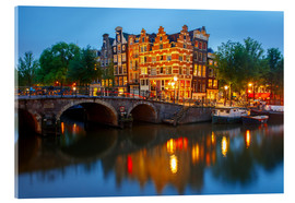 Acrylic print  Night city view of Amsterdam