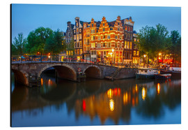 Aluminium print  Night city view of Amsterdam