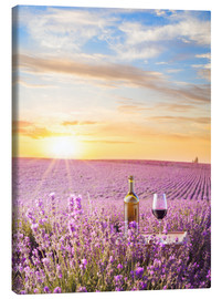 Canvas print  Bottle of wine in a lavender field