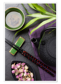 Premium poster  Asian sushi chopsticks, tea and teapot