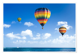 Premium poster  Colorful hot air balloons on the blue sea
