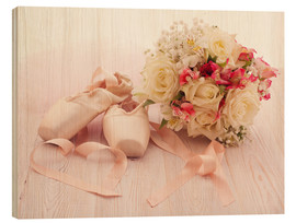 Wood print  Ballet shoes with bouquet