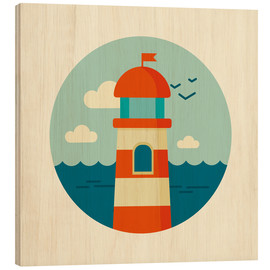 Wood print  Lighthouse in a circle - Kidz Collection