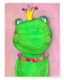 Premium poster  The frog queen and the colorful crown - Atelier BuntePunkt