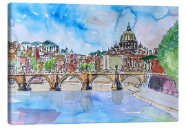 Canvas print  Vatican Rome Italy Sunset On River Tiber With St Peter II - M. Bleichner