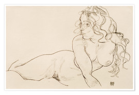 Premium poster  Supporting herself, female with long hair - Egon Schiele