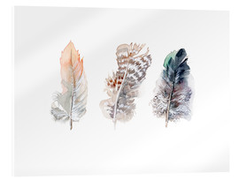 Acrylic print  3 feathers - Verbrugge Watercolor