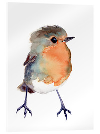 Acrylic print  Baby robin in watercolour - Verbrugge Watercolor