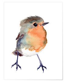 Premium poster  Baby robin in watercolour - Verbrugge Watercolor