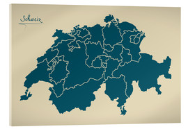 Acrylic print  Switzerland Modern Map Artwork Design - Ingo Menhard