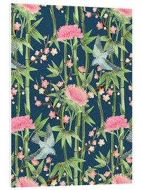 Foam board print  bamboo birds and blossoms on teal - Micklyn Le Feuvre