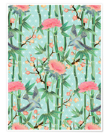 Premium poster  bamboo birds and blossoms on mint - Micklyn Le Feuvre