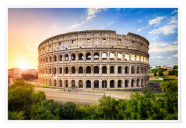 Premium poster Colosseum at sunset in Rome, Italy