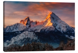 Canvas print  Alpenglow at Watzmann - Dieter Meyrl
