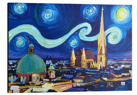 Aluminium print  Starry Night in Vienna Austria   Saint Stephan Cathedral Van Gogh Inspirations - M. Bleichner