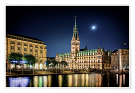 Premium poster  Moon over the town hall in Hamburg - Tanja Arnold Photography