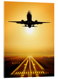 Acrylic print  Passenger Plane Ascending at Sunset