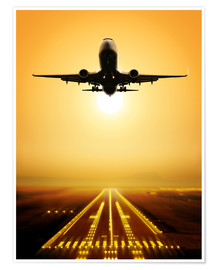 Premium poster  Passenger Plane Ascending at Sunset