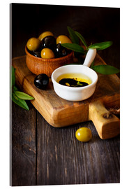 Acrylic print  Green and Black Olives