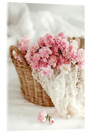 Acrylic print  Pink pastel flowers in wicker basket