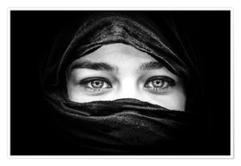 Premium poster  Woman with black scarf