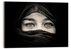 Wood print  Woman with black scarf
