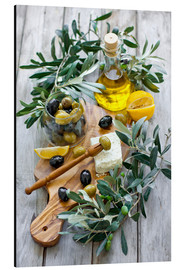 Aluminium print  Green and black olives with bottle of olive oil