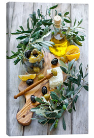 Canvas print  Green and black olives with bottle of olive oil